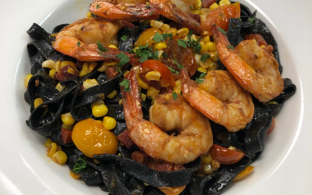 Squid Ink Pasta with Sous Vide Shrimp, Chorizo, Corn and Cherry Tomatoes